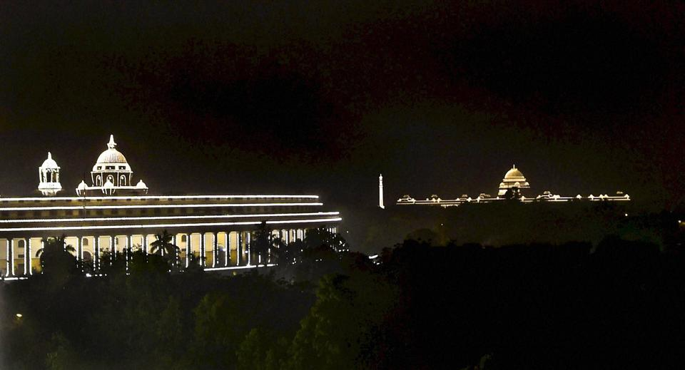 Illuminated Rashtrapati Bhavan and Parliament in New Delhi on the occasion of 68th Republic Day on Thursday.