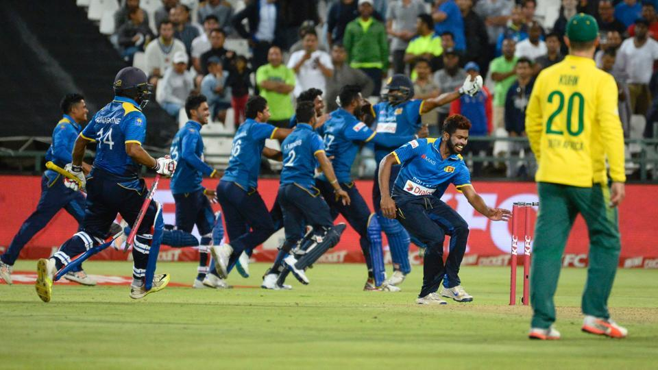 Sri Lanka won their first trophy in South Africa when they clinched the Twenty20 series victory with a five-wicket win in Cape Town.