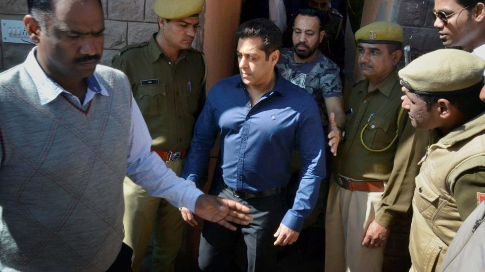 Bollywood actor Salman Khan comes out of the chief judicial magistrate's court in Jodhpur on Friday after the hearing in connection with the 1998 blackbuck poaching case.