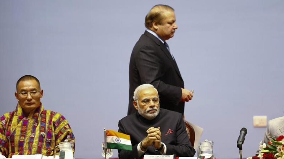 File photo of India's Prime Minister Narendra Modi (centre) and Pakistan's Prime Minister Nawaz Sharif (centre, standing) at the opening session of 18th South Asian Association for Regional Cooperation Summit in Kathmandu, Nepal, in November 2014.