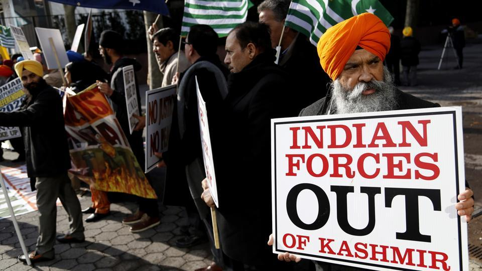 A group of Sikhs protest near the United Nations headquarters in New York on the occasion of India's Republic Day on Thursday, seeking intervention of the UN to protect their religious minority.