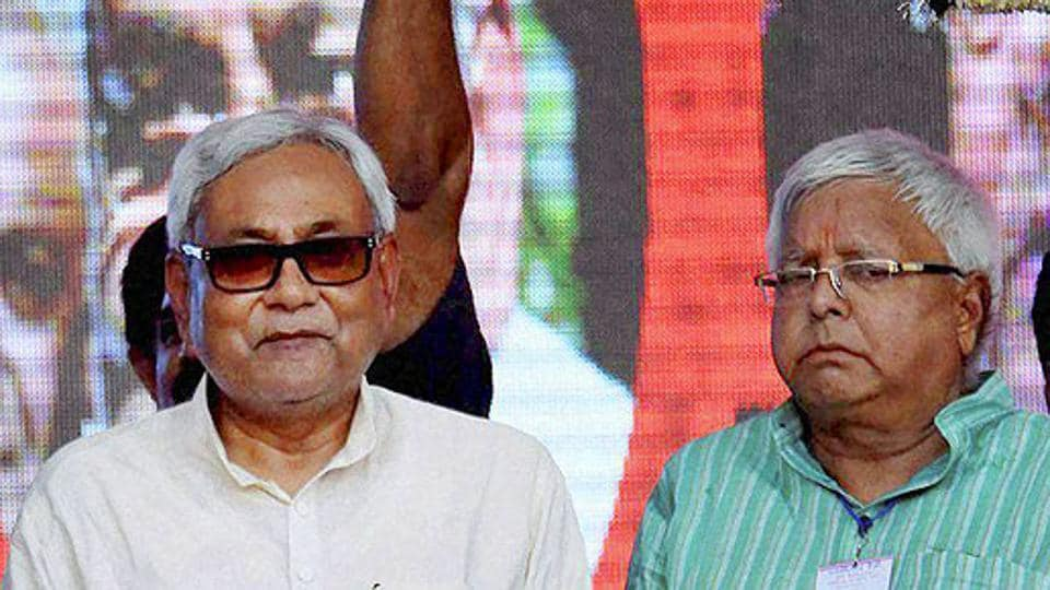 File photo of Bihar CM Nitish Kumar with RJD supremo Lalu Prasad.