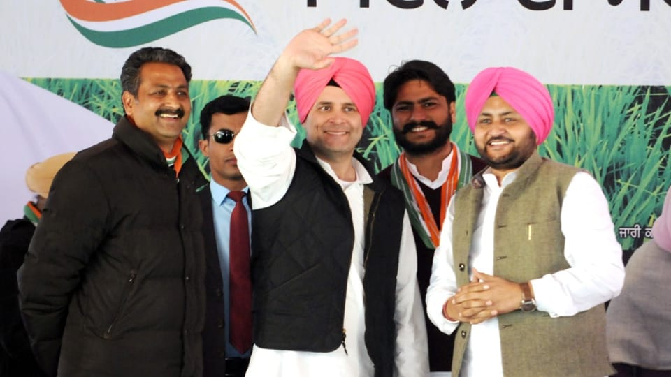 Congress vice-president Rahul Gandhi addressing a rally at Dhuri in Sangrur district on Saturday.