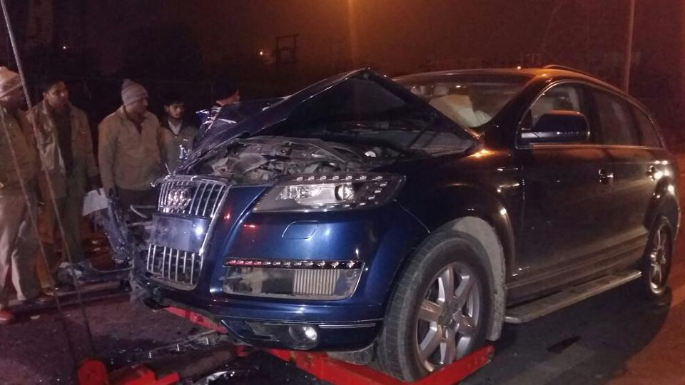 The Audi SUV that hit the auto in Ghaziabad.