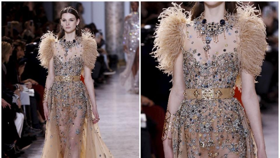 Elie Saab: With floaty fabrics and embroidered detail, the elegant silhouettes of the latest Elie Saab collection are hot contenders for the Oscars red carpet. This collection pays homage to the world of the arts in Egypt's golden age. (AFP)