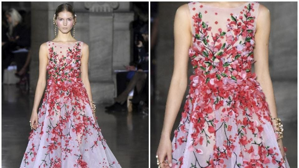Georges Hobeika: With volume, length, fluidity and intricate embroidery, this sumptuous gown ticks all the boxes as a potential red carpet contender for 2017. The embroidered flowers seem to climb from the bottom of the dress, blooming into a bouquet at the waist and bust, adding a romantic touch that could appeal to several stars. (AFP)