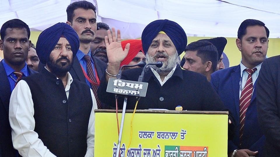 Shiromani Akali Dal (SAD) president and Punjab deputy chief minister Sukhbir Singh Badal in Barnala on Saturday.