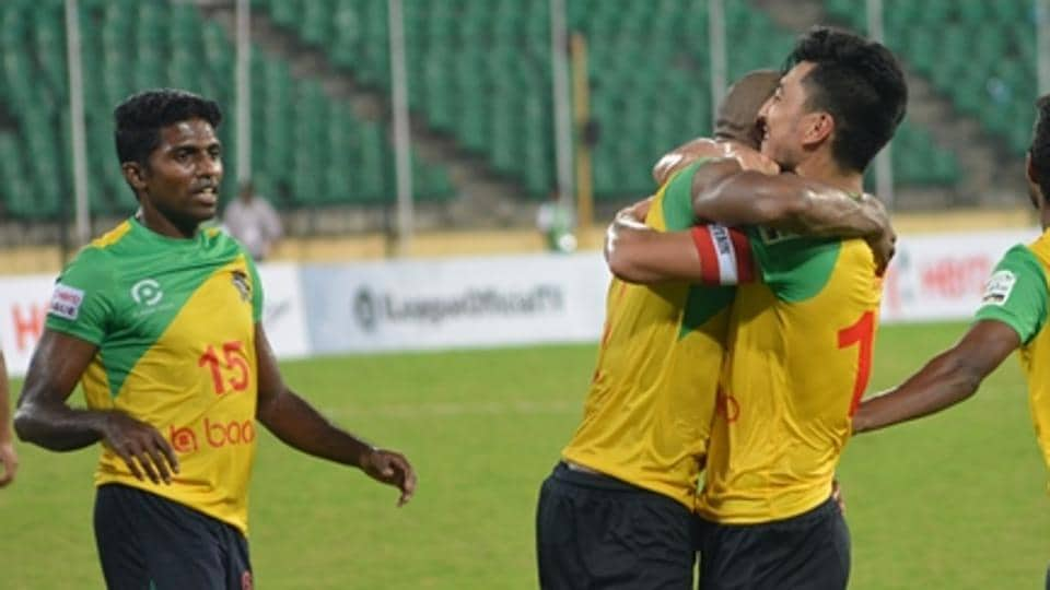 Chennai City FCplayers celebrate a goal against Aizawl FC during their 2-0 win on Saturday.