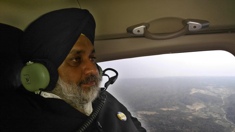 Shiromani Akali Dal president Sukhbir Singh Badal on a chopper on Saturday.
