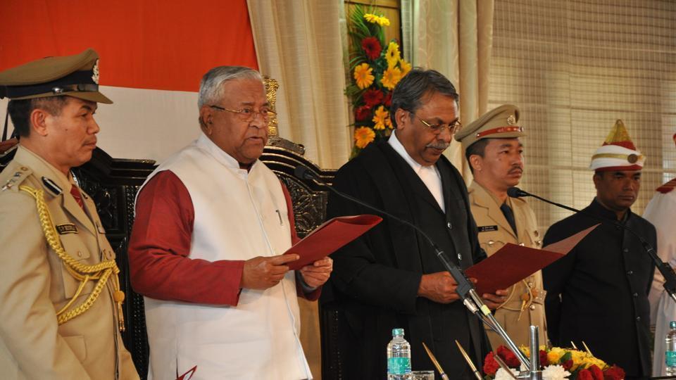 Nagaland Governor PB Acharya taking oath in Itanagar.