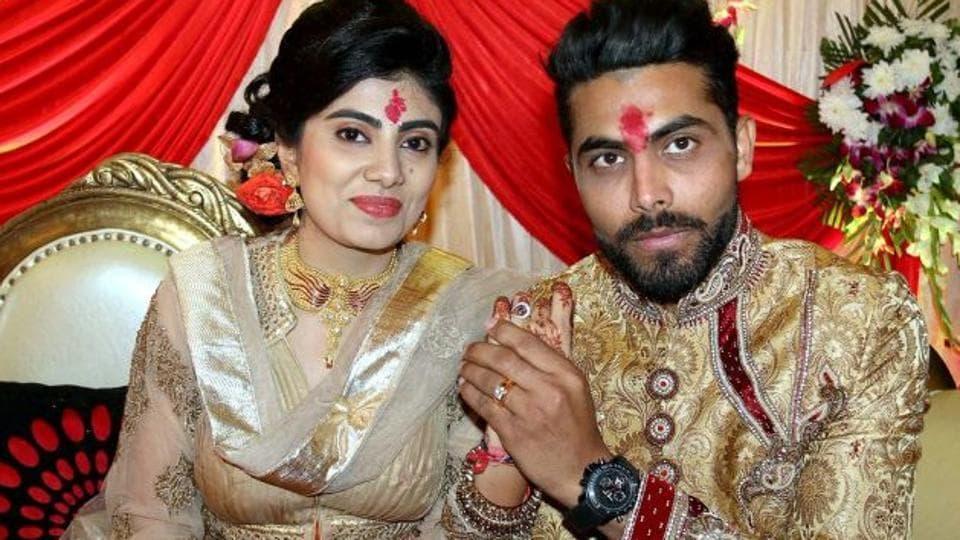 Ravindra Jadeja and wife Reeva Solanki's car hit a two-wheeler onSaturday.