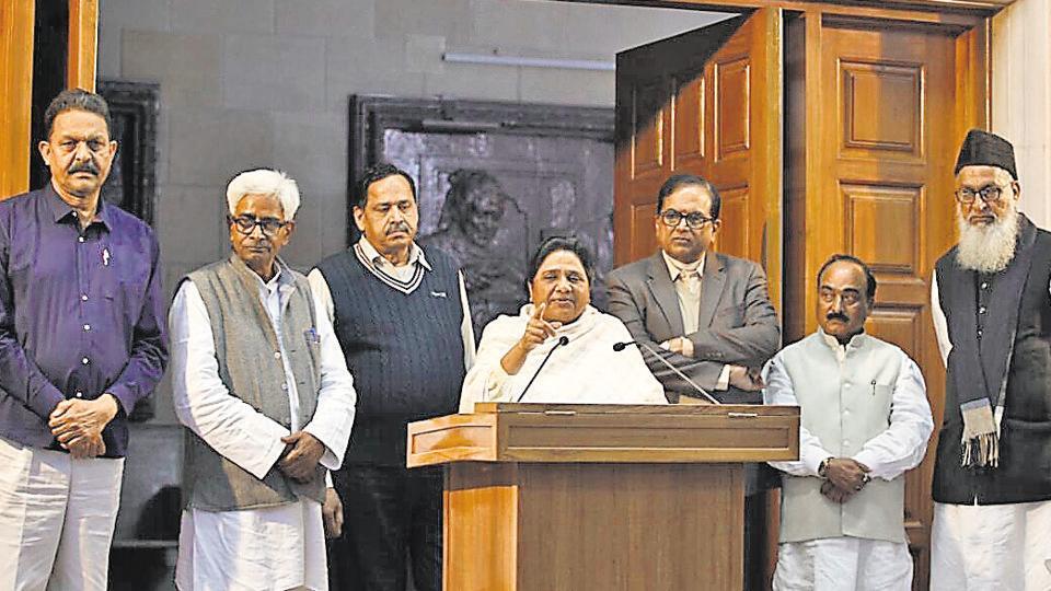 BSP national president Mayawati, general secretary SC Mishra, general secretary Naseemuddin Siddiqui, QED leader Afzal Ansari, Abbas Ansari, Sibgatulla Ansari and retired high court judge, Sabhajeet Singh Yadav in Lucknow on Thursday.