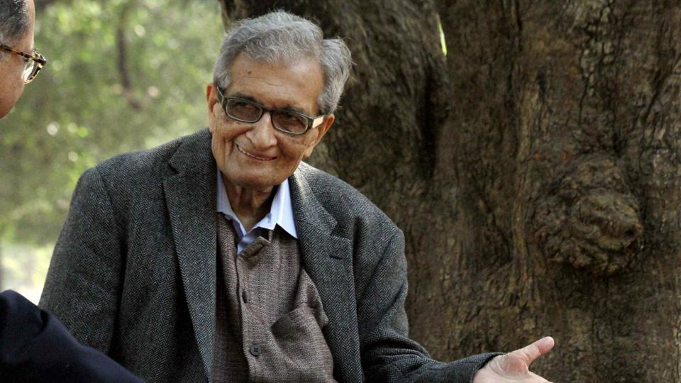 Nobel Laureate Amartya Sen during a shooting for a documentary film on him, at Visva-Bharati University.