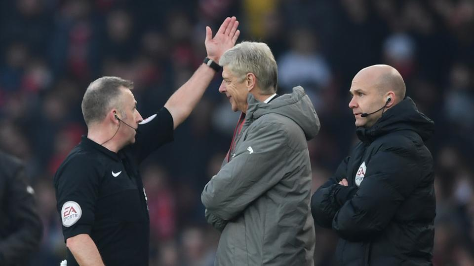 Arsene Wenger was sent to the stands by the referee after allegedly abusing the fourth official during Arsenal F.C.'s 2-1 win over Burnley.