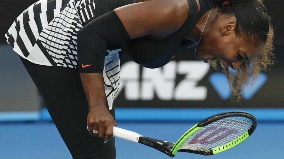 Serena Williams also smashed her racket during her Australian Open final against Venus on Saturday. (AP)