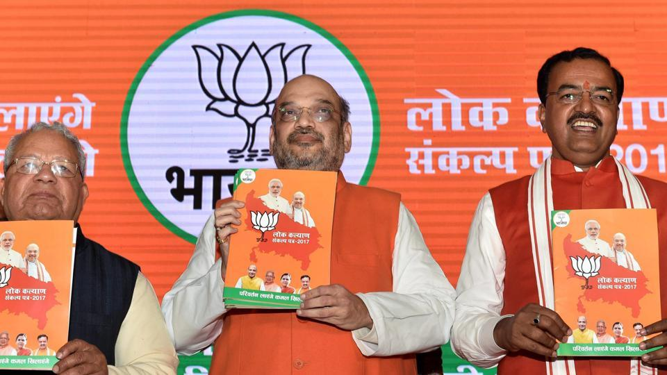 BJP president Amit Shah with party leaders releasing party manifesto for the upcoming Uttar Pradesh assembly elections in Lucknow on Saturday, Jan 28, 2017.
