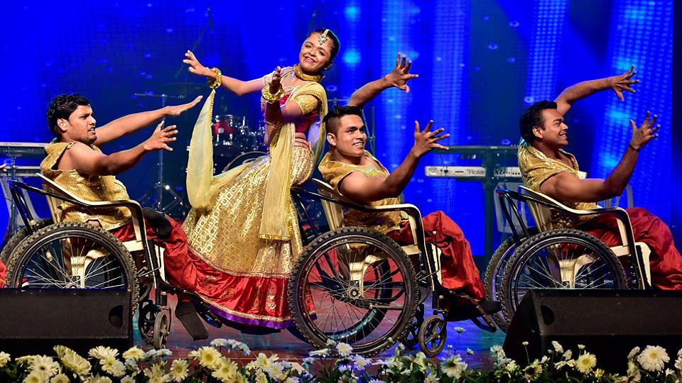 Special students perform on stage at the International Customs Day event in Mumbai. (Arijit Sen/HT PHOTO)