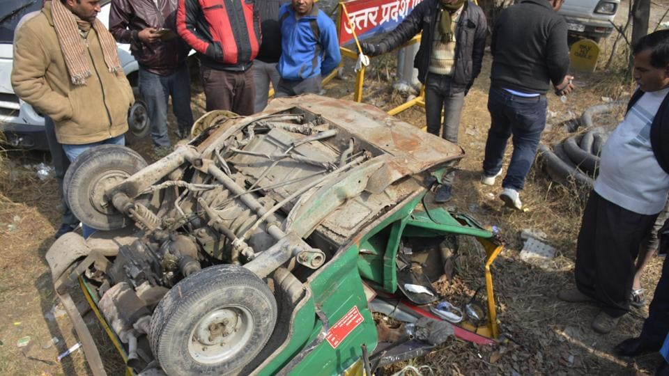 Four persons were killed when a speeding Audi Q7 hit an auto on the Hindon canal road in Ghaziabad on Saturday. The three passengers and the driver were killed while the car occupants fled the spot leaving the car behind .