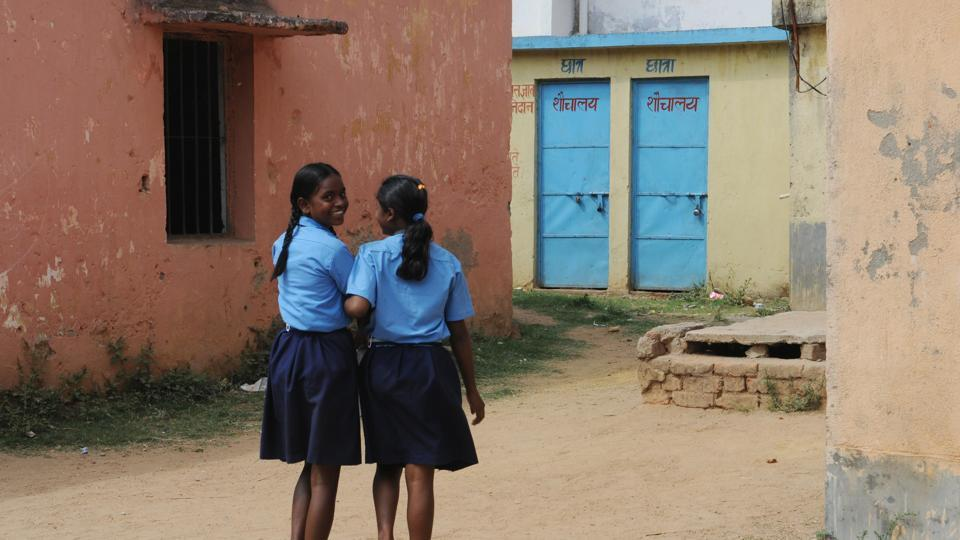 Students proceeding towards a well maintained toilet at Government Middle school at Tharpakhna in Ranchi