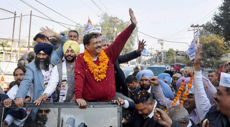 Aam Aadmi Party convener and Delhi chief minister Arvind Kejriwal during a road show for upcoming Punjab assembly election in Jalandhar.
