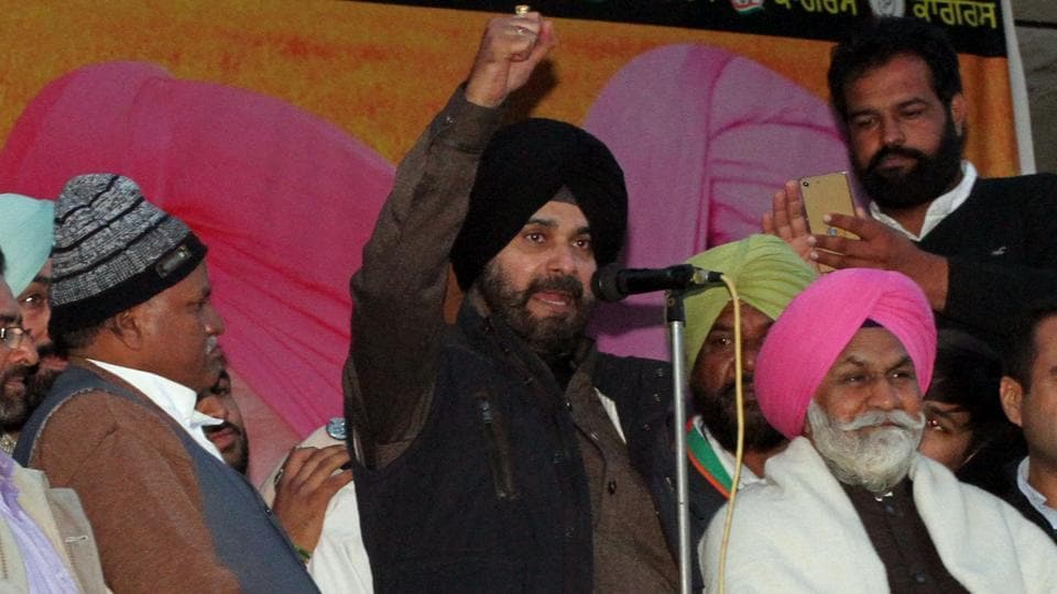 Congress leader Navjot Singh Sidhu along with party leaders addressing a rally at Galib Kalan, Jagraon, in Ludhiana on Friday .