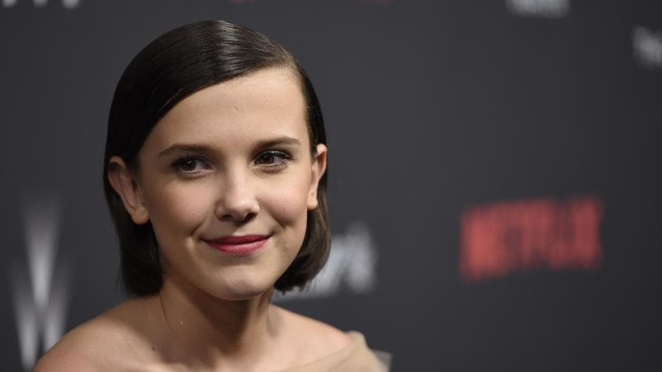 Millie Bobby Brown arrives at The Weinstein Company and Netflix Golden Globes afterparty at the Beverly Hilton Hotel in Beverly Hills.