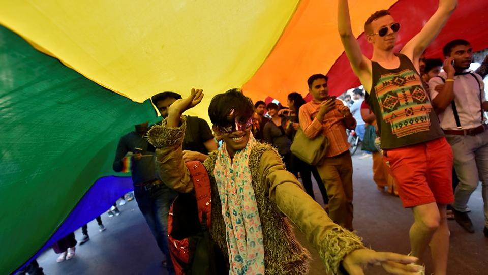 The colours of hope and pride reigned supreme at the march. (Arijit Sen/HT PHOTO)