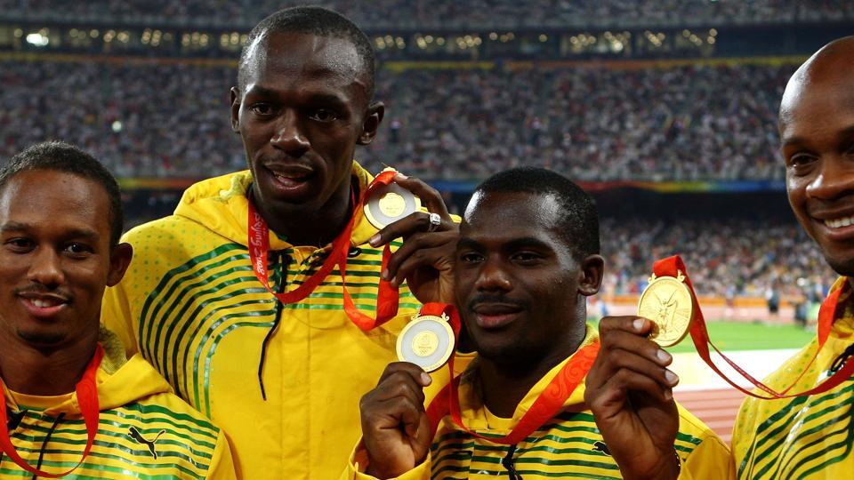 Usain Bolt was stripped of his 4x100 relay gold medal in the 2008 Beijin Olympics after Nesta Carter tested positive for a drugs test.
