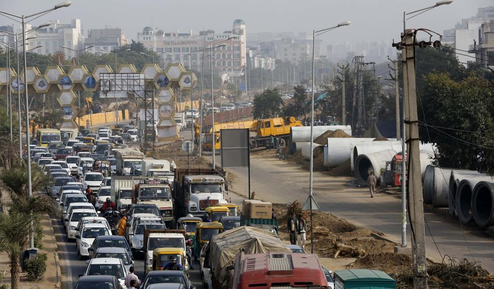 Traffic congestion due to construction work at Gymkhana Road in Gurgaon on Saturday.