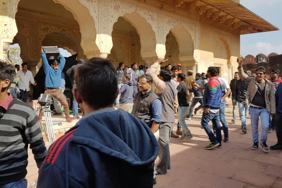 Rajput Karni Sena activists vandalise the sets of upcoming film Padmawati at Jaigarh Fort in Jaipur on Friday.