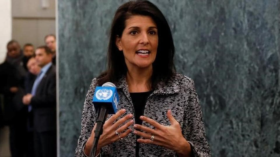 Newly appointed US Ambassador to the United Nations Nikki Haley makes a statement upon her arrival at UN headquarters in New York City.