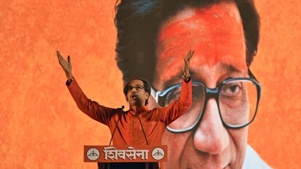 Uddhav Thackeray during Shivsena Rally ahead of BMC polls at Goregaon in Mumbai on Thursday.