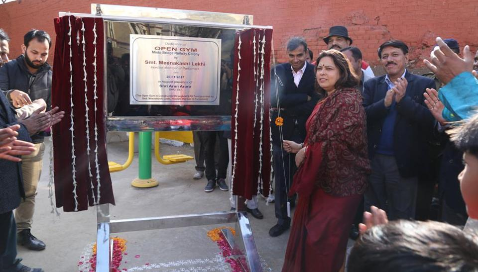 MP Meenakshi Lekhi inaugurates an open gym at the Minto Road Railway Colony.