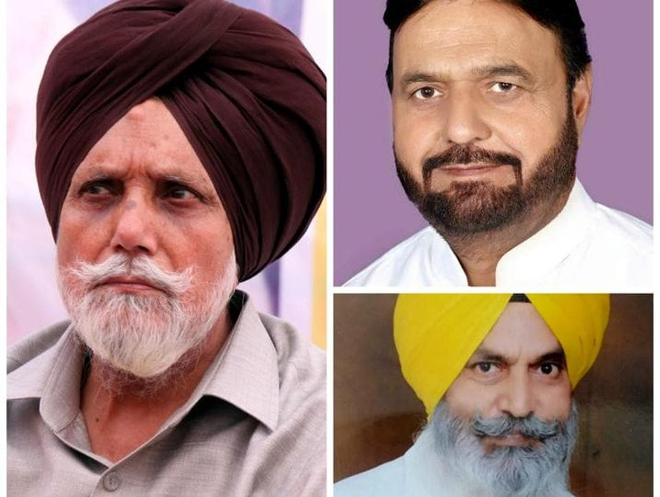 (clockwise from left) Janmeja Singh Sekhon (SAD), Harminder Singh Jassi (Congress) and Jagdev Singh Kamalu (AAP)