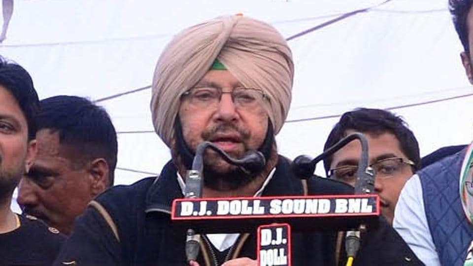 Punjab Congress president Captain Amarinder Singh addressing a rally in Lambi constituency on Sunday.