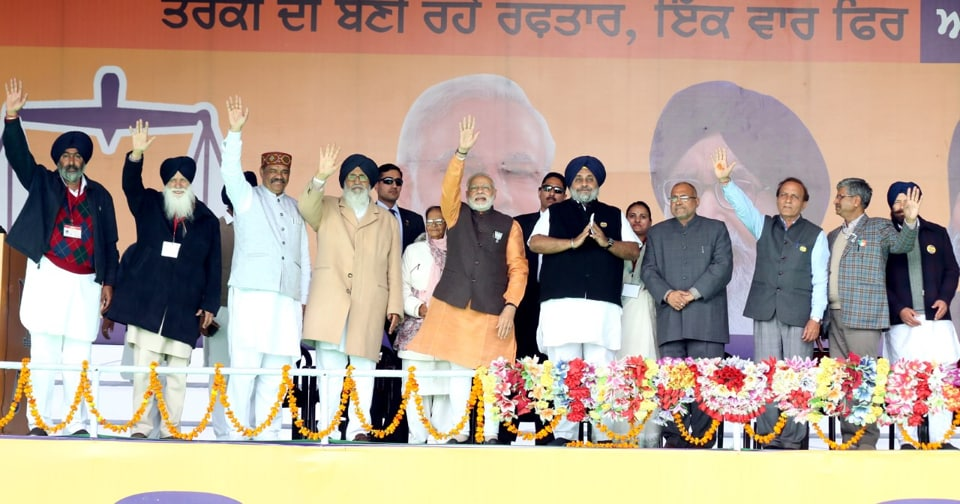 Punjab chief minister Parkash Singh Badal and Prime Minister Narendra Modi during a rally at Kotkapura in Punjab's Faridkot district on Sunday.