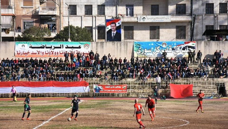 The Ittihad club beat Hurriya 2-1 in their first match on home turf since rebels took east Aleppo in 2012.