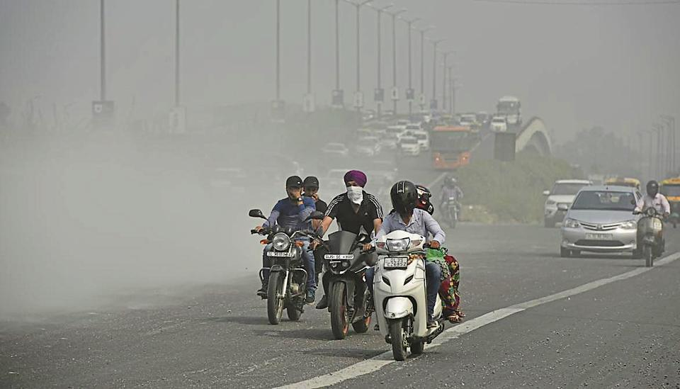 Dust from construction waste on NH-24 near Akshardham Tample in New Delhi.