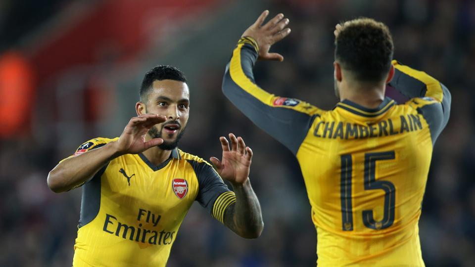 Arsenal FCforward Theo Walcott celebrates after his hat-trick against Southampton FCin the FACup.