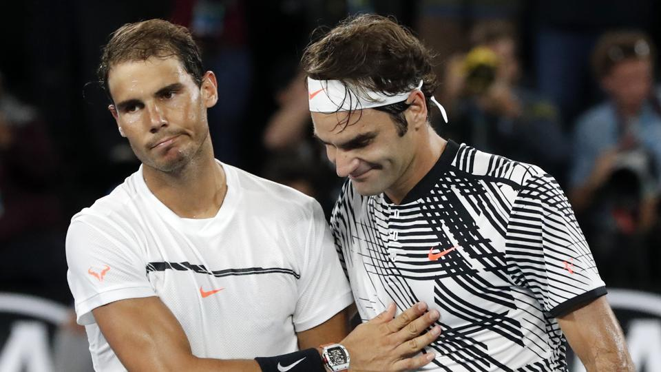 Rafael Nadal congratulates Roger Federer after losing a well-fought final.  (AP)