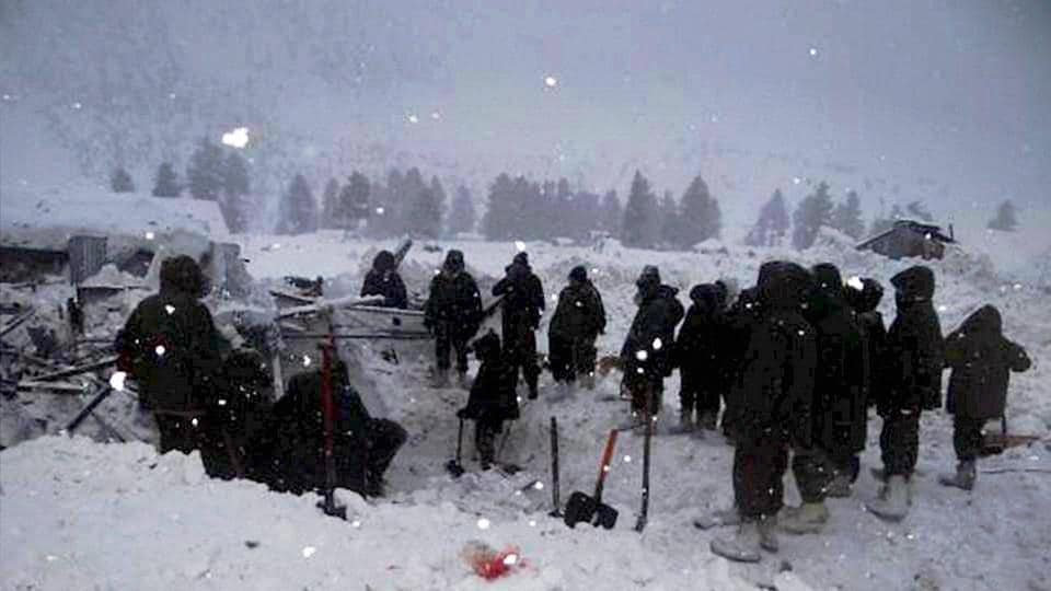 Army soldiers carry out rescue operations in Gurez sector where a severe avalanche took place on Wednesday.