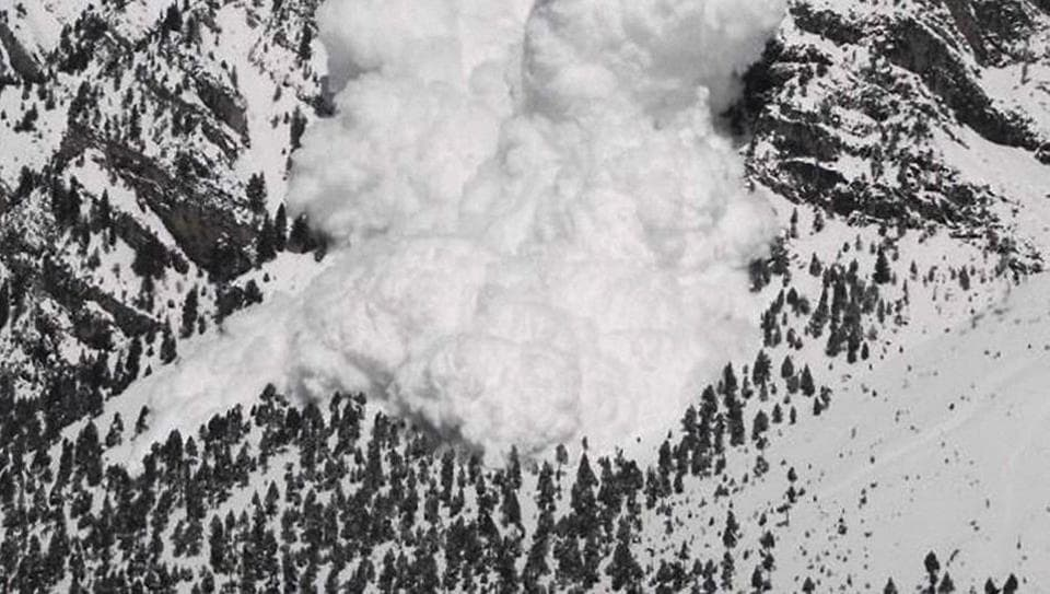 Srinagar: A view of the site of severe avalanche that took place in Gurez sector of Kashmir.