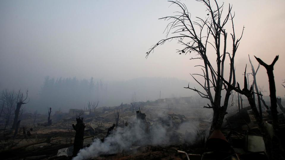 Burnt trees and the remains of houses are seen after a wildfire at the country's central-south regions, in Santa Olga, Chile January 28, 2017.  (Carlos Vera  / REUTERS)