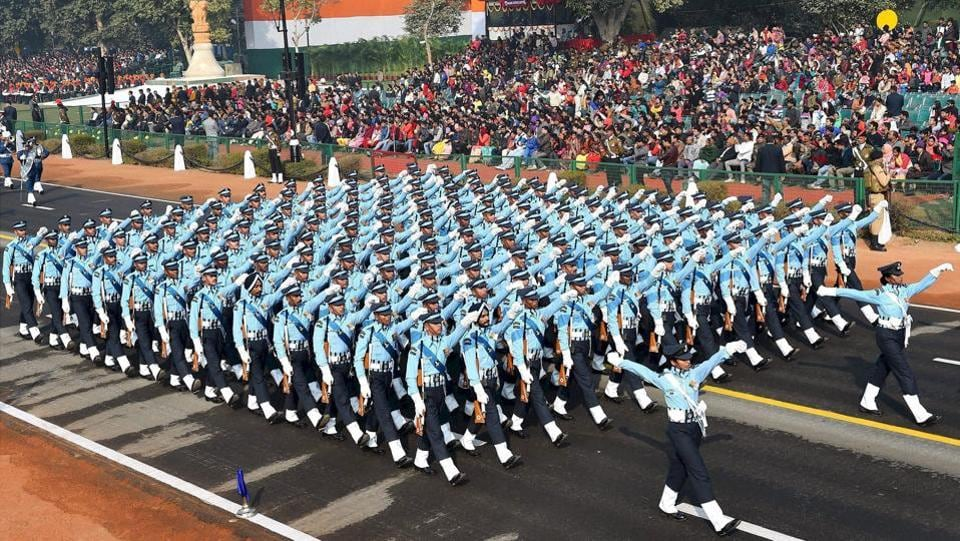 IAF's contingent march past during the full dress rehearsal for the Republic Day parade, at Rajpath in New Delhi on Monday.  (Kamal Singh / PTI)