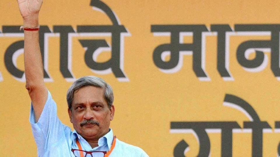Defence minister Manohar Parrikar during an election campaign rally at Campal, Panaji in Goa.