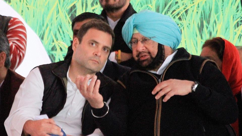 Congress vice-president Rahul Gandhi with PPCC president and party's Punjab CM candidate Captain Amarinder Singh at an elecation rally in Jalalabad Fazilka district on Saturday.