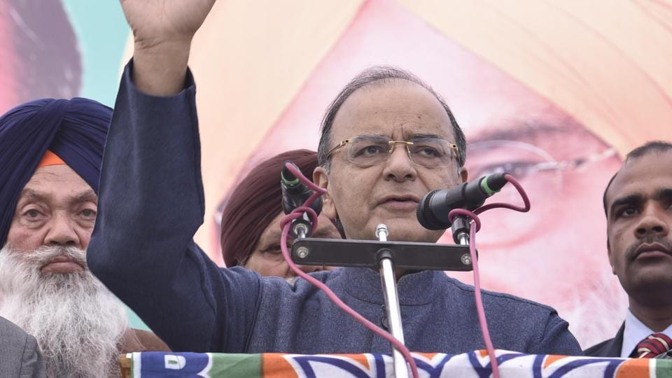 Union finance minister Arun Jaitley  addressing a rally in support of SAD candidate from Rajasansi assembly segment Veer Lopoke and BJP's Lok Sabha bypoll candidate Rajinder Mohan Singh Chhina, on Sunday