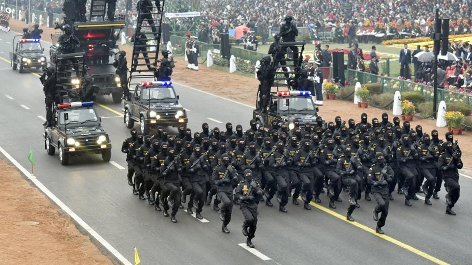 NSG commandos at the 68th Republic Day parade at Rajpath in New Delhi on Thursday.
