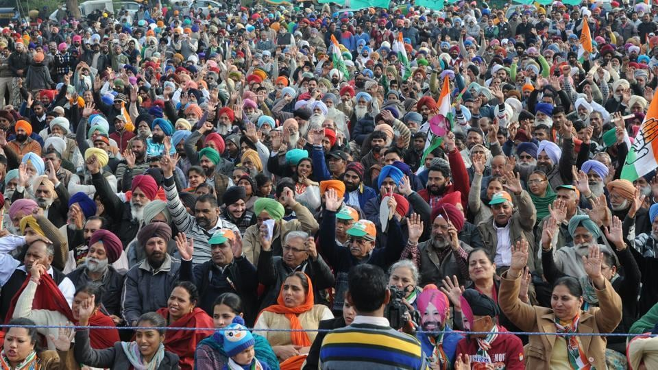 People at Dussehra Ground, Phase 8, in SAS Nagar on Saturday as Congress leader Navjot Singh Sidhu addresses the rally.