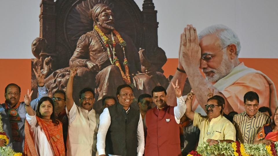 CM Devendra Fadnavis along with BJP leaders at a rally in Goregaon on Saturday.
